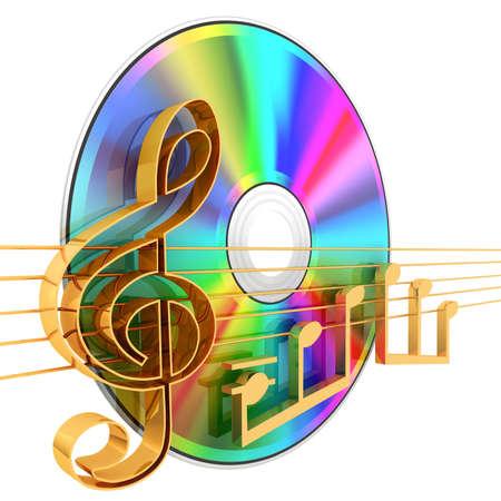 Music CD . 3d rendered illustration .
