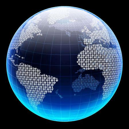 Codice binario su una superficie di un pianeta