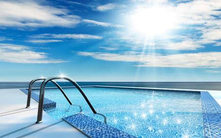 高級ホーム スイミング プール、海のそば