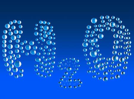 water molecule: La f�rmula del agua sobre un fondo azul