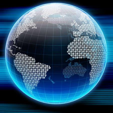 Binaire code op een oppervlak van een planeet
