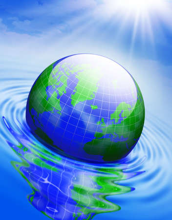 Globe in the water . Conceptual 3D illustration . Stock Photo