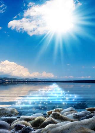 Beautiful seascape with illuminated water surface