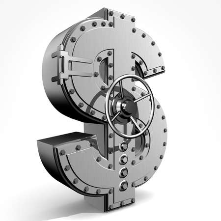 Bank safe from  american dollar sign