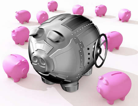 Funny piggy banks on a white background Stock Photo - 2940916