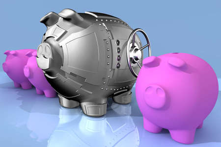 synthesis: Synthesis from piggy bank and banking safe Stock Photo