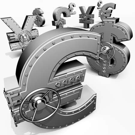 Synthesis from money symbols and banking safes Stock Photo