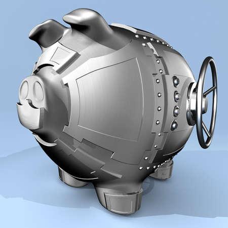 safe investments: Sintesi di porcellino salvadanaio e cassetta di sicurezza bancaria