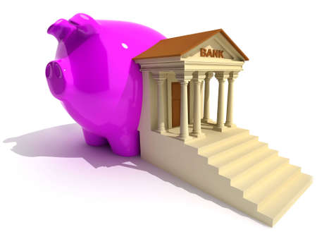 Bank and piggy-bank on white. Conceptual 3d illustration Stock Illustration - 3002279