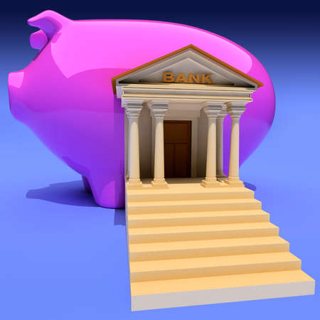 Bank and piggy-bank on blue. Conceptual 3d illustration Stock Illustration - 3002278
