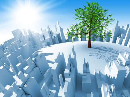 Megacity 3d astratto e un albero