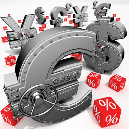 synthesis: Synthesis from money symbols and banking safes Stock Photo