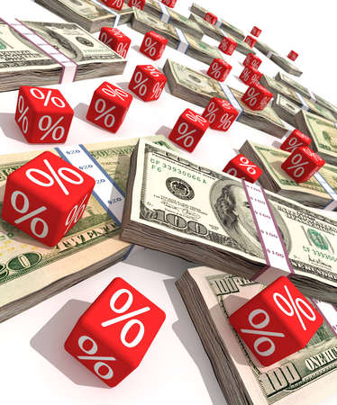 Dollar banknotes and red cubes with a symbol of percent Stock Photo - 3056417
