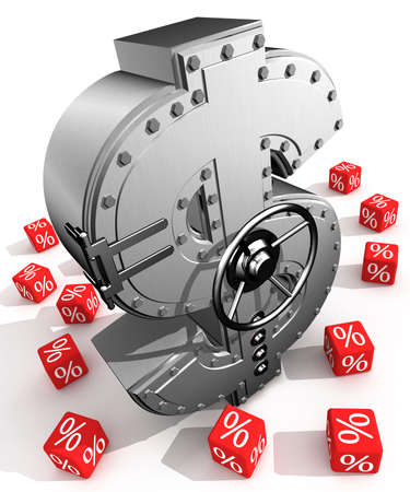 Sintesi da simbolo di dollaro e bancarie sicuri