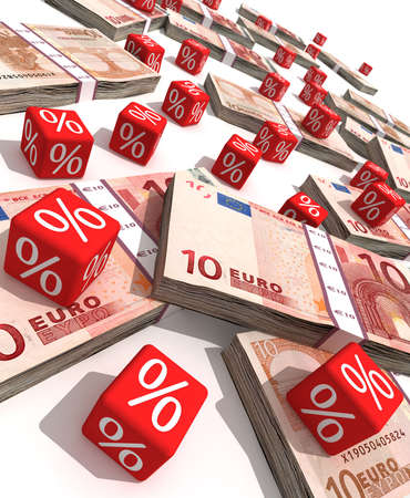 Euro banknotes and red cubes with a symbol of percent