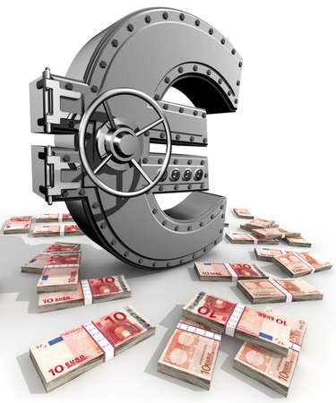 Synthesis from euro symbol and banking safe Stock Photo - 3056413