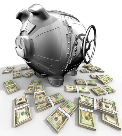 Synthesis from piggy bank and banking safe Stock Photo - 3056412