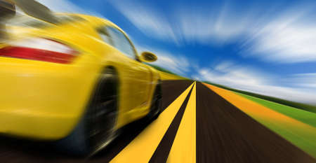 car racing: High-speed motion-blurred auto on rural highway Stock Photo