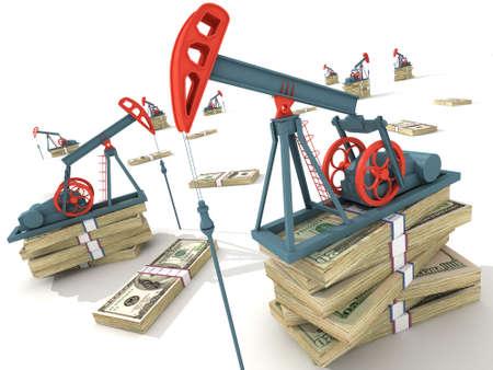 torres petroleras: Bombas de petr�leo en los billetes en d�lares. Conceptual ilustraci�n 3D.