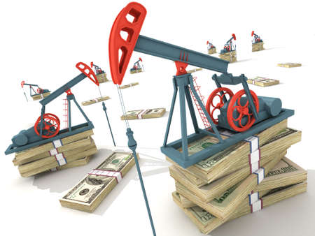 oil platform: Oil pumps on dollar banknotes. Conceptual 3D illustration.