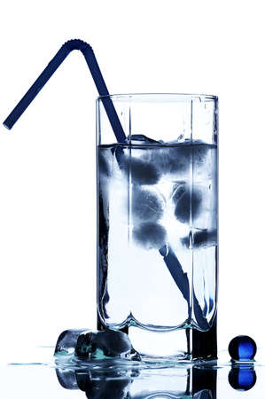 Glass with water and ice  photo