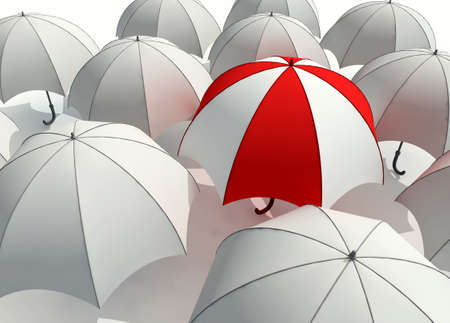 3d rendered illustration of many  umbrellas Stock Photo