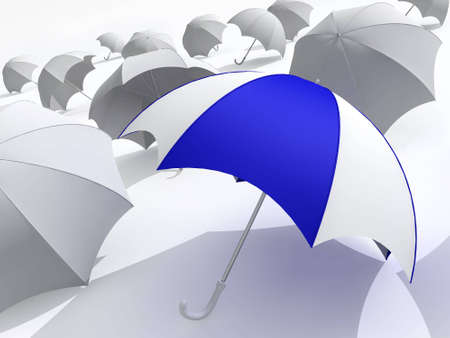 loneliness: 3d rendered illustration of many  umbrellas on white