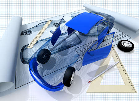 3d model of the car and blueprint