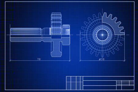 specifications: Close-up of blueprint background with gears