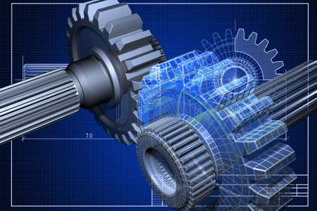 Close-up of blueprint with cogwheel Stock Photo - 3731964