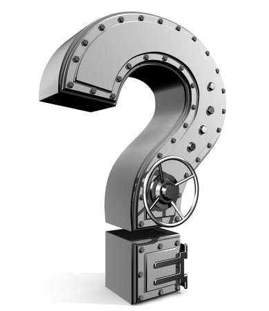 Banking safe from  question mark Stock Photo