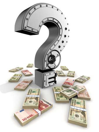 questionable: Banking safe from  question mark Stock Photo