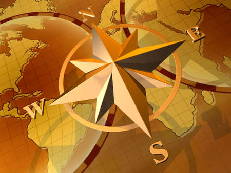 Compass rose on  background of world map photo