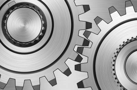 Two gears on steel background Stock Photo - 3979732