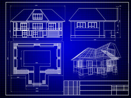 Close-up of house blueprint Stock Photo - 3979735