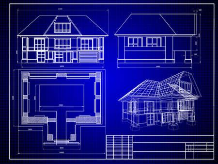modelling: Close-up of house blueprint
