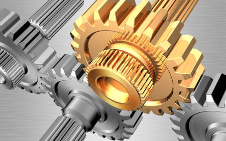 Gears on steel background Stock Photo