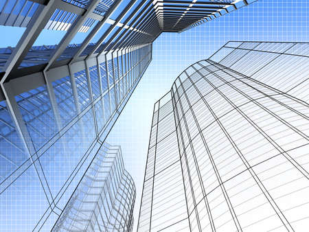 Office building and blueprint Stock Photo - 4037566