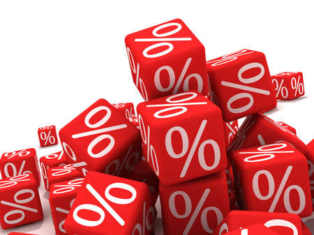 Symbols of percent on red cubes.  Stock Photo