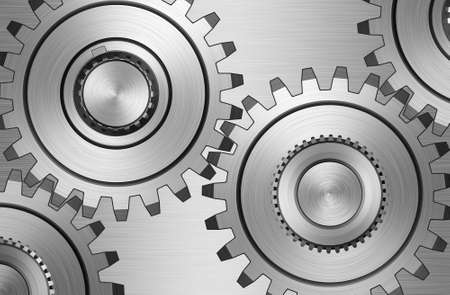 pinion: Four gears on steel background