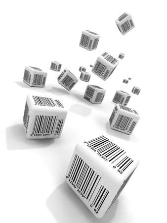 Falling cubes with bar-codes photo