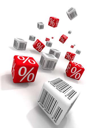 Symbols of percent and bar-codes on cubes