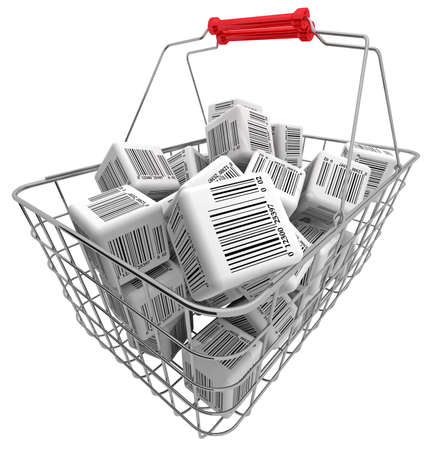 Shopping basket and cubes with bar-codes photo