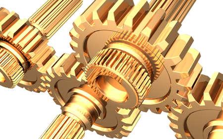 Golden gears on white background Reklamní fotografie