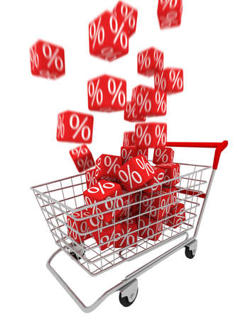 Shopping cart with red cubes Stock Photo - 4125094