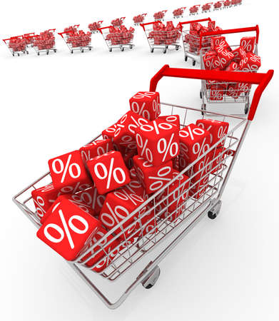 shopping carts: Shopping carts with red cubes  Stock Photo