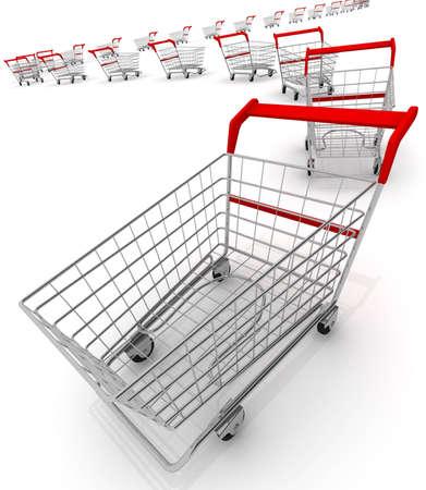 Shopping carts isolated on white  photo