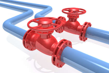 gas distribution: 3D rendered pipeline isolated on white background