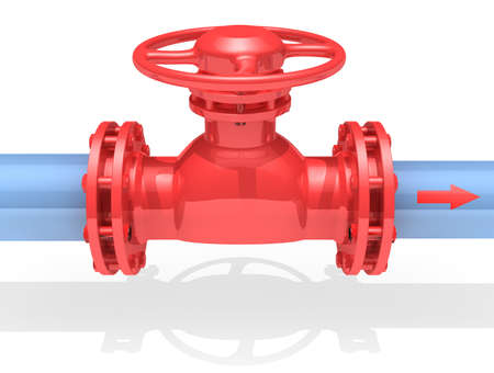 combustible: 3D rendered gate valve isolated on white background Stock Photo