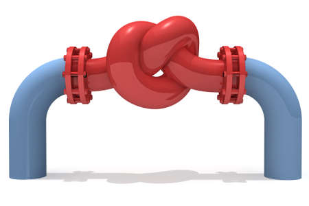 valve: 3D rendered knot from pipeline Stock Photo